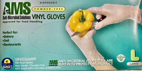 AMS Anti-Microbial Powder Free Vinyl Gloves Size M,L,XL Powder Free 100/Box 7