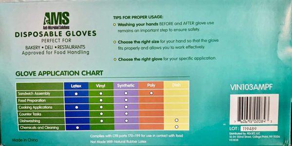 AMS Anti-Microbial Powder Free Vinyl Gloves Size M,L,XL Powder Free 100/Box 4