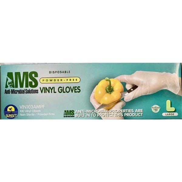 AMS Anti-Microbial Powder Free Vinyl Gloves Size M,L,XL Powder Free 100/Box 2