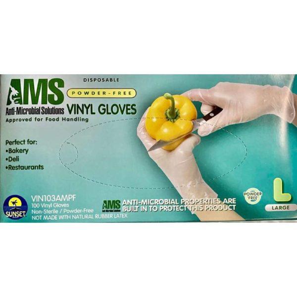AMS Anti-Microbial Powder Free Vinyl Gloves Size M,L,XL Powder Free 100/Box 1