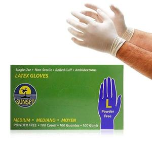 Sunset LATEX GLOVES Size L,M Powder-Free 100/Box 1