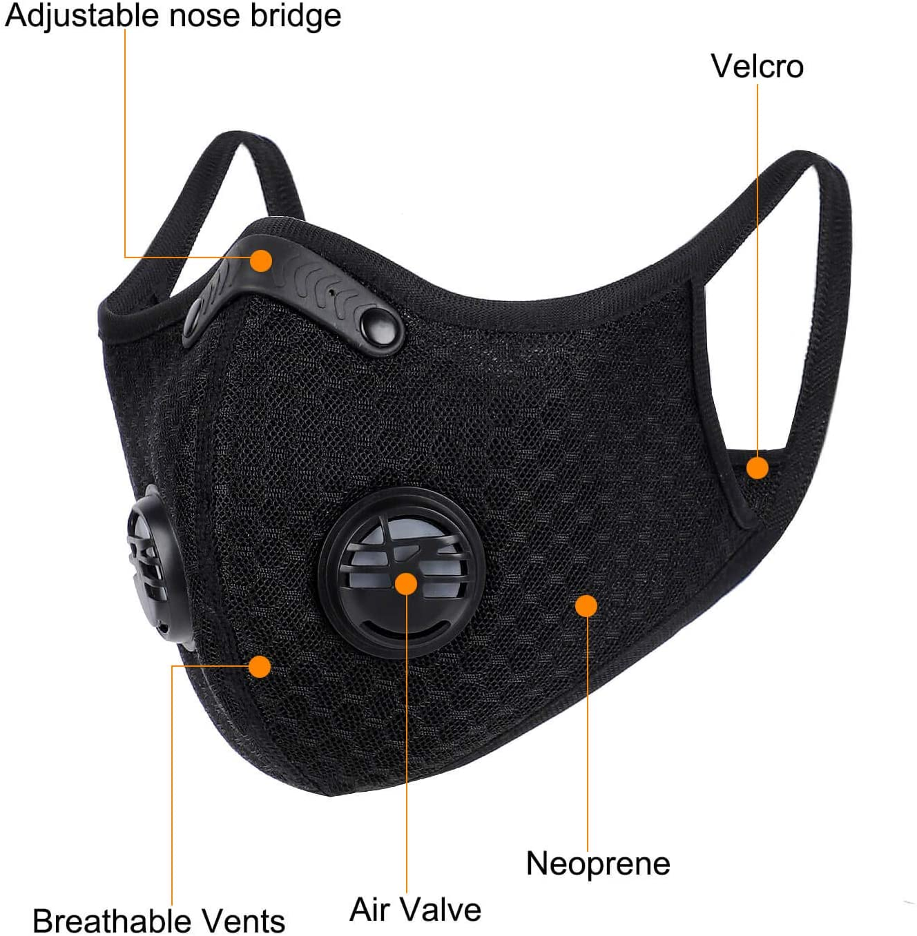 Mesh Sports Mask with Replaceable KN95 Filter - Free Shipping - PMedi