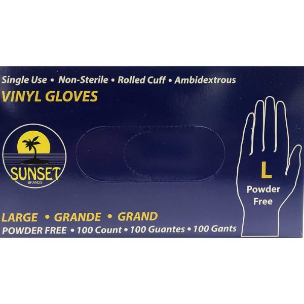 Sunset Vinyl Gloves Size M,L,XL Powder Free 100/Box 2