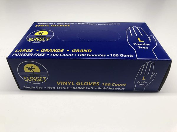 Sunset Vinyl Gloves Size M,L,XL Powder Free 100/Box 4